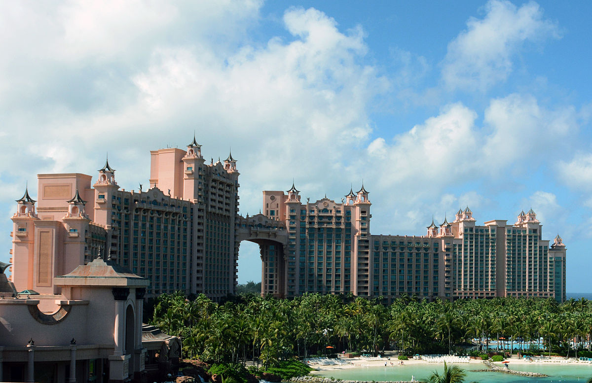 Atlantis on Paradise Island makes the Bahamas one of several tropical travel destinations that offer gaming excitement ... photo by CC user WPPilot on wikimedia commons
